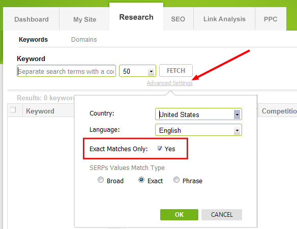 exact match keyword search