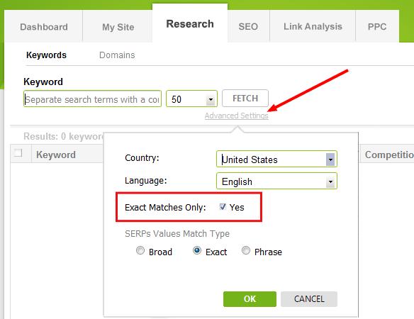 exact match keyword search