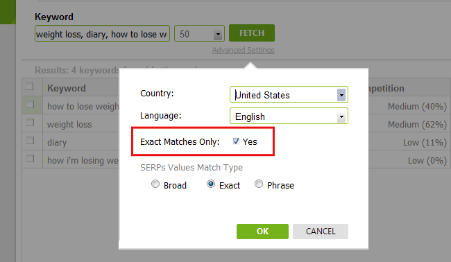 Exact Match Keyword Research
