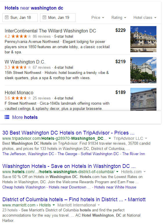 Local SEO - Washington DC Hotels