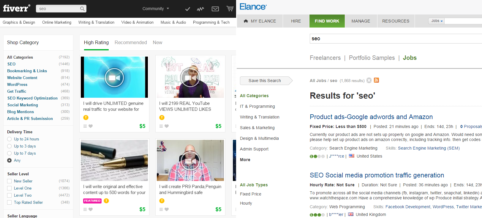 SEO Jobs on Fiverr and Elance