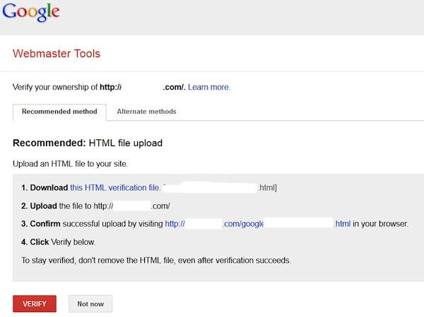 Google Webmaster Tools ownership verification