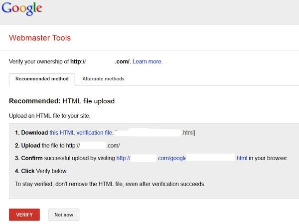 Google Webmaster Tools ownership verification