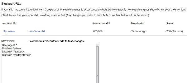 Google Webmaster Tools blocked URLS