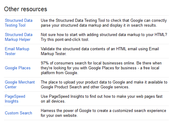Google Webmaster Tools other resources