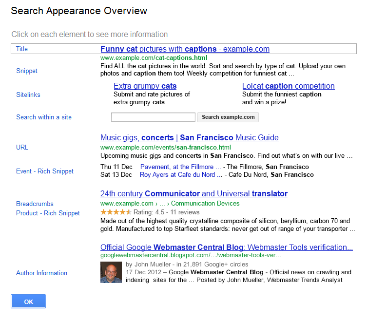 Google Webmaster Tools search appearance