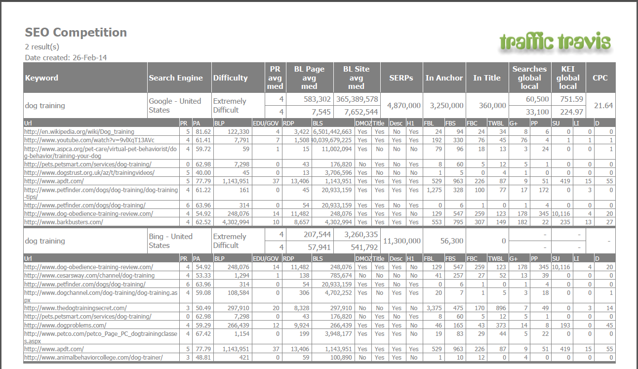 Example of SEO Competition detailed PDF report