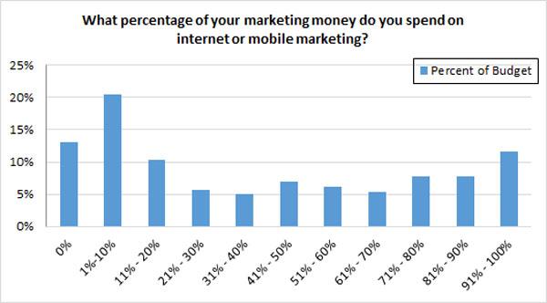 Percent of marketing budget spent on Internet marketing