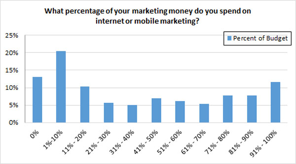 Percent of marketing budget spent on Internet marketing