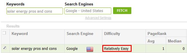 keyword relatively easy